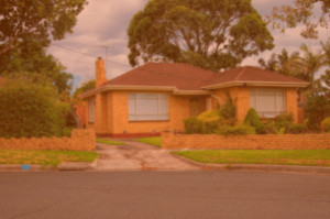 house with orange tint