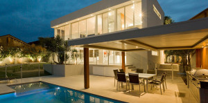 modern house with outdoor lighting