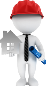man holding a house logo